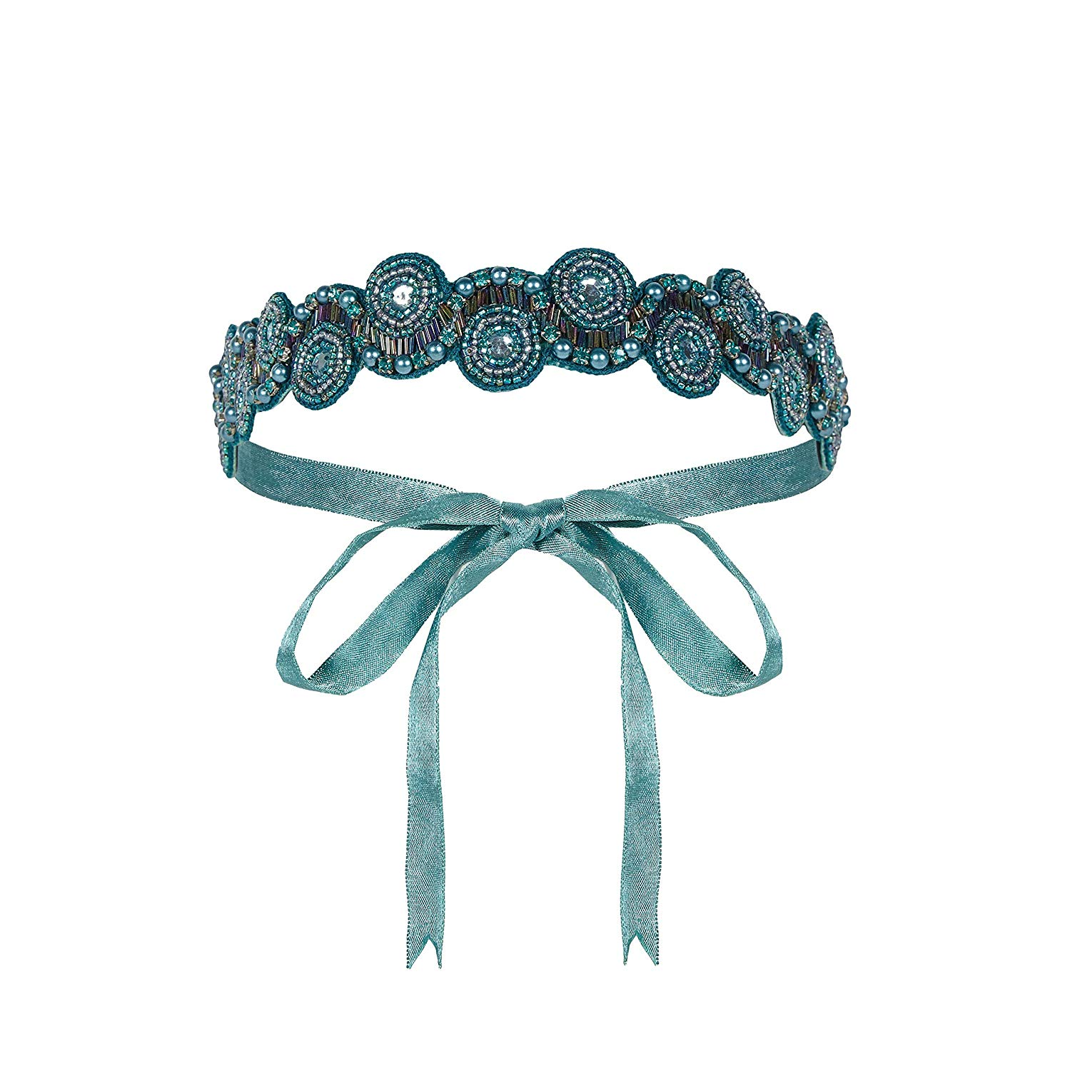 Gatsbylady London - Eliza Vintage Inspired Hand Embellished Flapper Headband - Teal, AED99