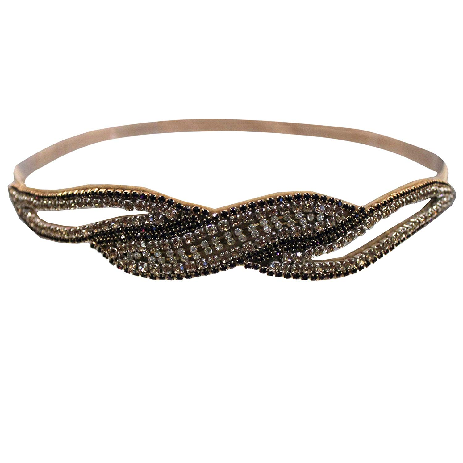 Mia Embellished Headband, Chocolate Brown, Bronze, Gold And Purple Pretty Sparkly Rhinestones, Velvet Backing, AED79.91