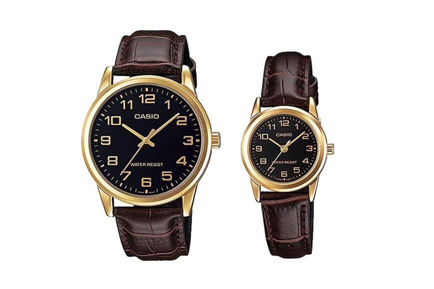 Casio His & Hers Black Dial Leather Watch