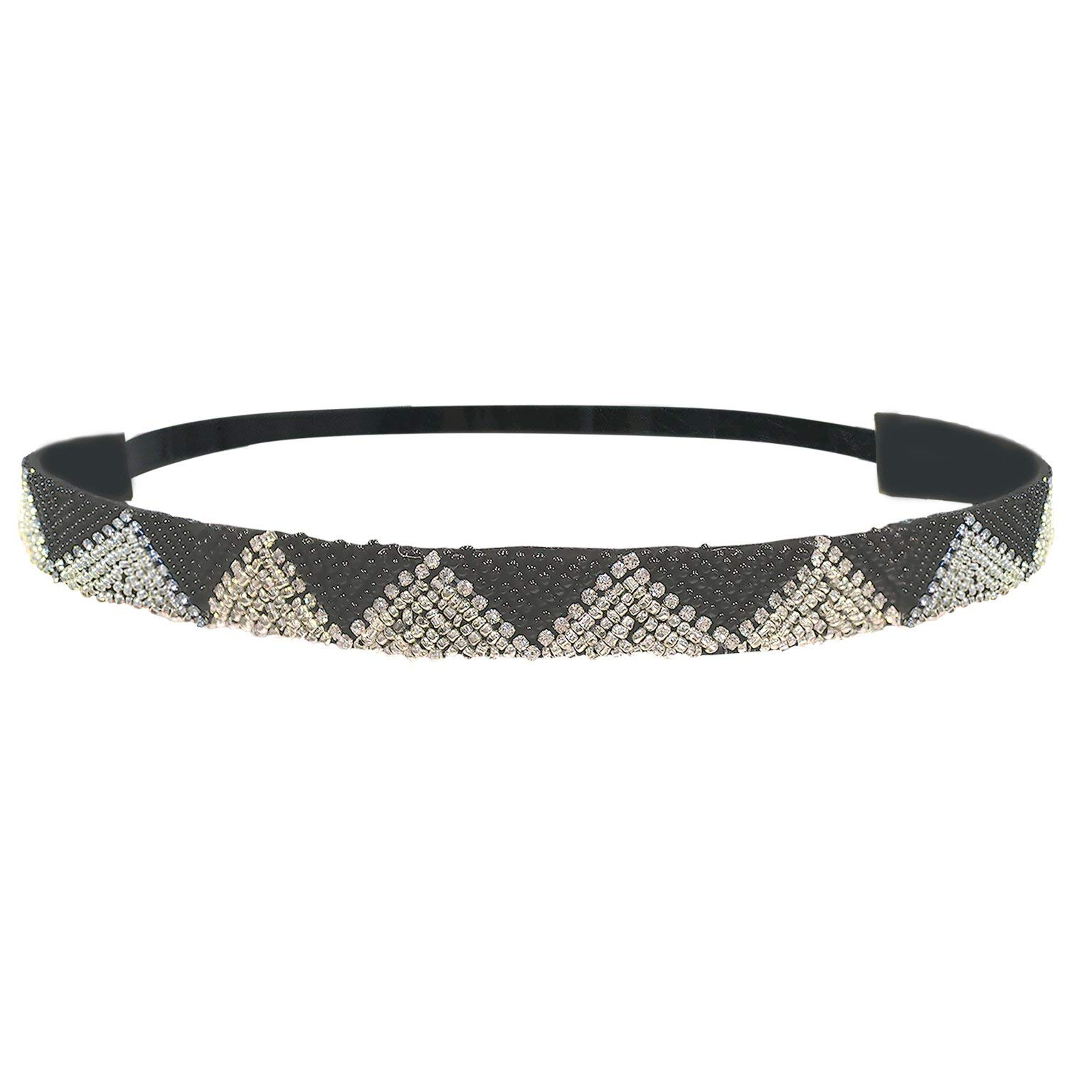 Mia Embellished Headband, Beautiful, Handmade Beaded Headwrap, Black And Silver Zig Zag Design, Pretty Velvet Lining, Adjustable Elastic Strap, Trendy, Chic, AED 71.63