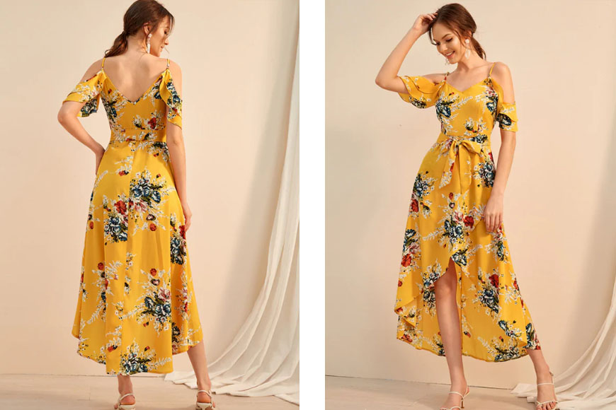 Floral Print Cold Shoulder Tulip Hem Dress