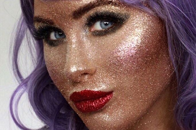 Face Full of Glitter Makeup