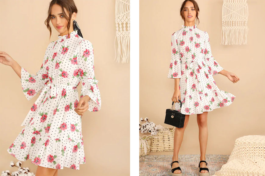 Mock-Neck Belted Bell Sleeve Floral Polka Dot Dress