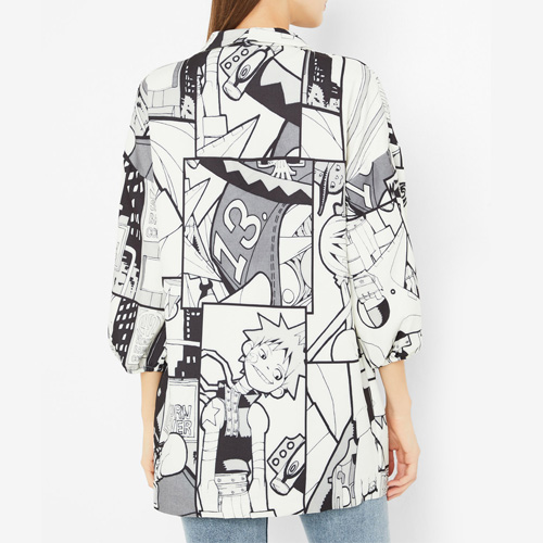 High Streets Off-White and Black Comic Print Blazer on SIVVI