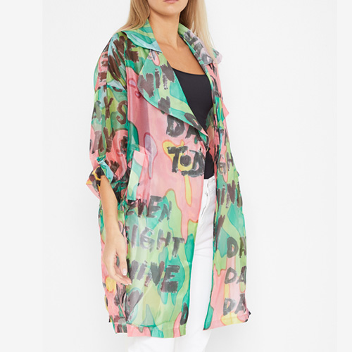 High Streets Green Multi Patterned Sheer Jacket on Sivvi