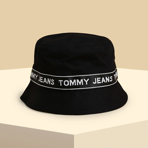 Tommy Jeans Black Logo Tape Bucket Hat on Sivvi
