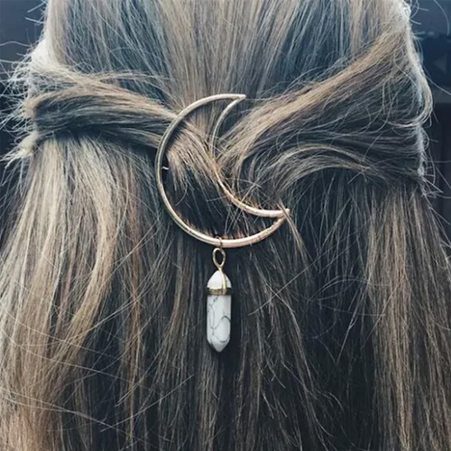 Marble Stone Charm Moon Shaped Hairpin