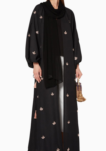 Luna & Sol Leaf-Embroidered Abaya