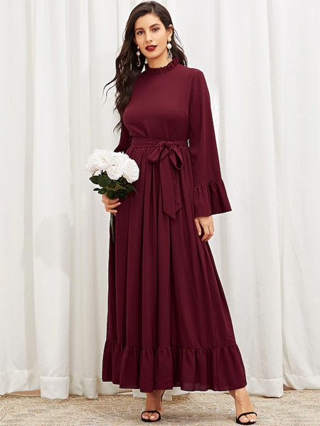 SHEIN Mock-Neck Ruffle Trim Hijab Dress