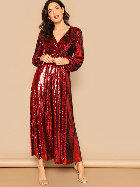 SHEIN Blouson Sleeve Surplice Sequin Maxi Dress
