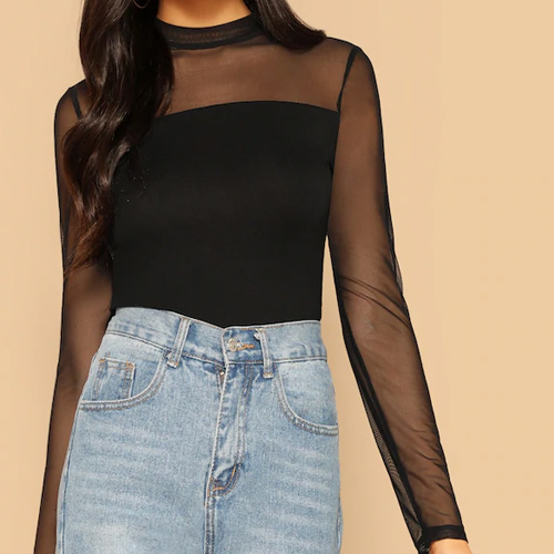 SHEIN Mock Neck Mesh Shoulder Top