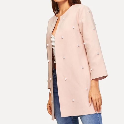 SHEIN Open Front Pearls Beaded Solid Coat