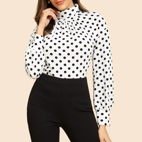 SHEIN High Neck Polka-Dot Tee