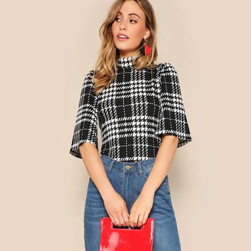 SHEIN High Neck Houndstooth Top