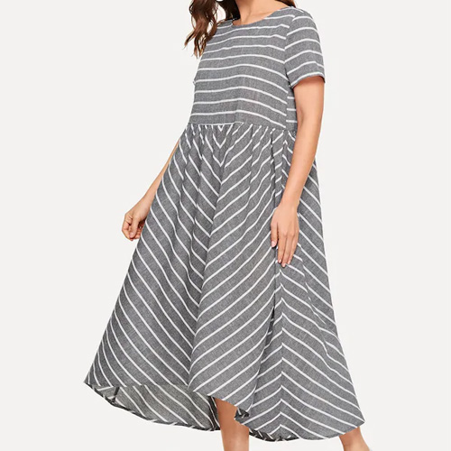 SHEIN Dip Hem Striped Dress