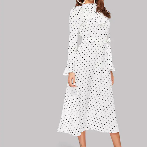 SHEIN Polka Dot Flounce Sleeve Ruffle Midi Dress