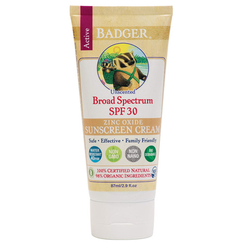 Badger - SPF 30 Active Mineral Sunscreen Cream for Face and Body, Unscented - 2.9oz Tube