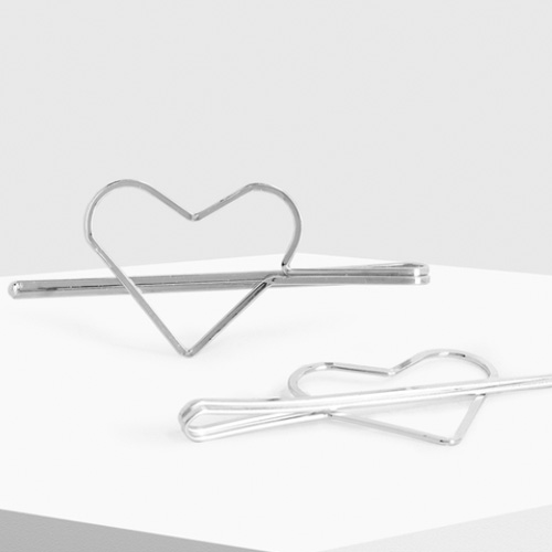 Silver Heart Hair Pins