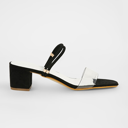 Black faux suede perspex sandals on Sivvi