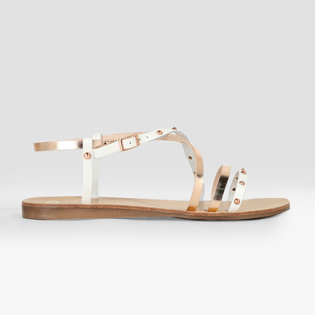 Rose gold and white Larsen studded sandals by Dune London