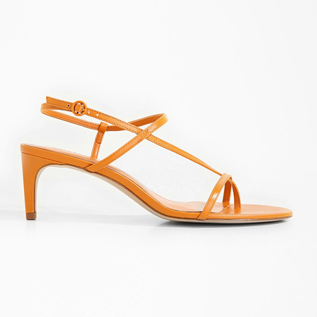 Orange leather strappy thong sandals by Mango