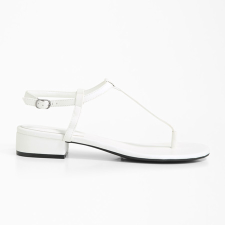 White faux leather thong sandals by Forever 21