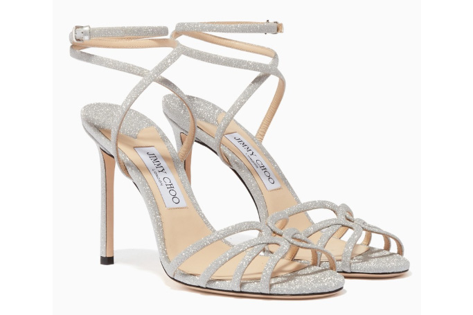 Jimmy Choo - Mimi 100 Glitter Wrap-Around Sandals