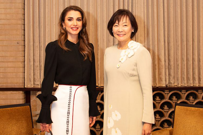 Queen Rania Wore Looks By Jordanian Designers In Japan