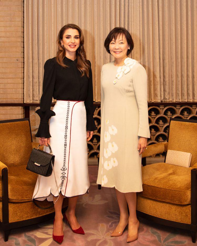 Queen Rania in Suhad Khawaja skirt