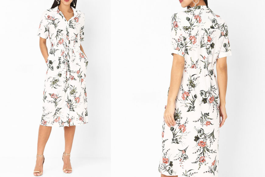 White Multi Printed Drawstring Waist Shirt Dress