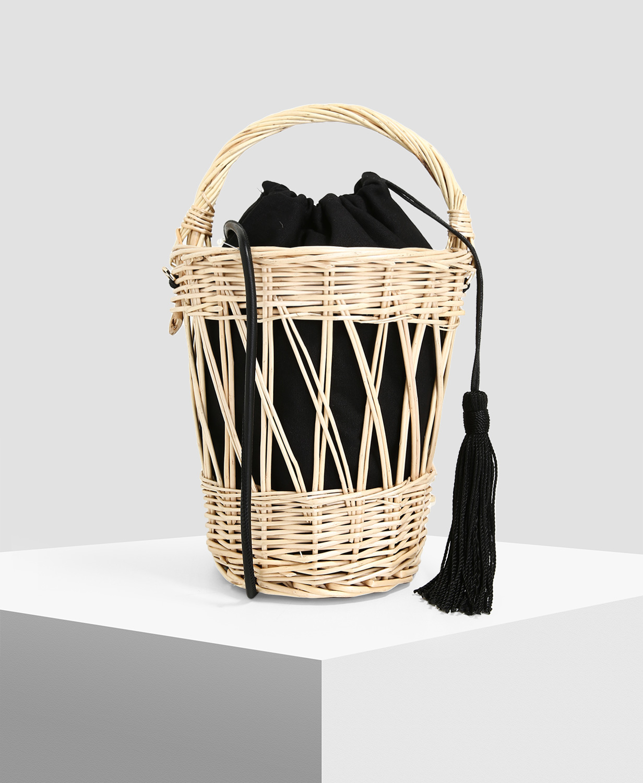 MANGO Beige Bamboo Basket Bag