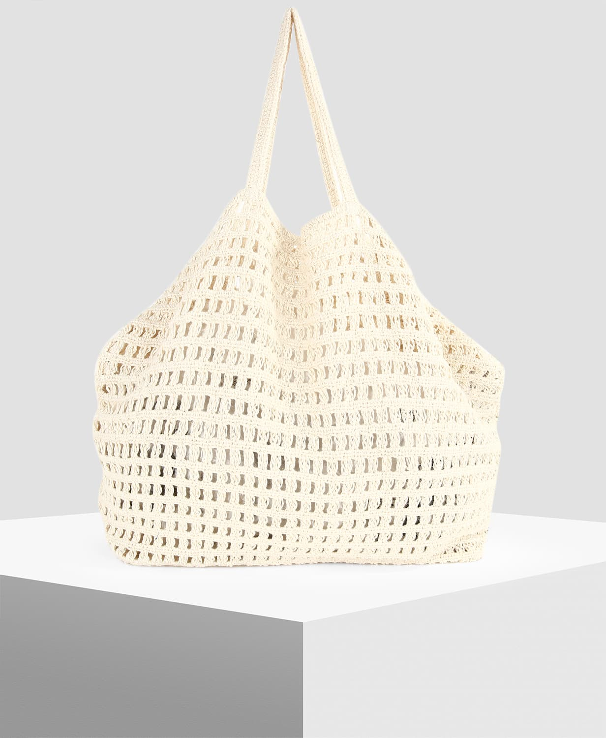 MANGO Off-White Crochet Shopper Bag