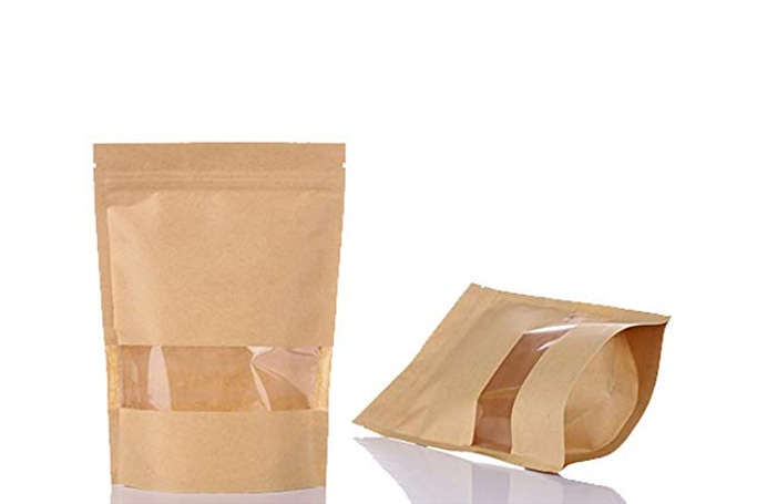 KRAFT WINDOW PAPER BAGS PACK OF 10