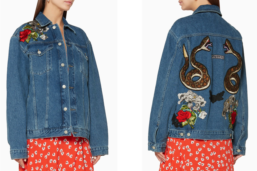 Ragyard - Blue Snake & Floral Patchwork Denim Jacket