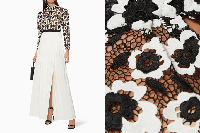 Self-Portrait Pleated Abstract Floral Guipure Dress