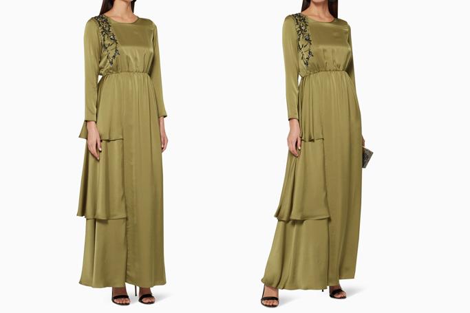 Amal Al Raisi Sequinned Detail Tiered Dress
