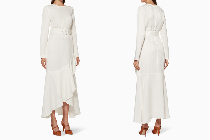 SIR The Label Inez Asymmetric Ruffle Gown