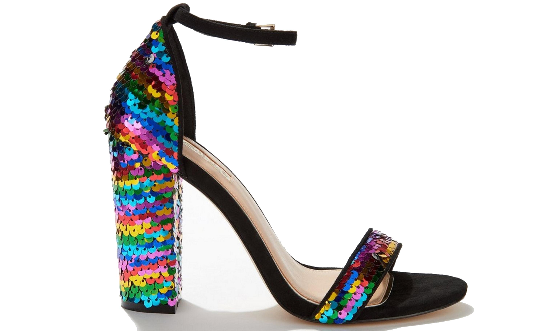 Black Henley Block Heeled Sandals