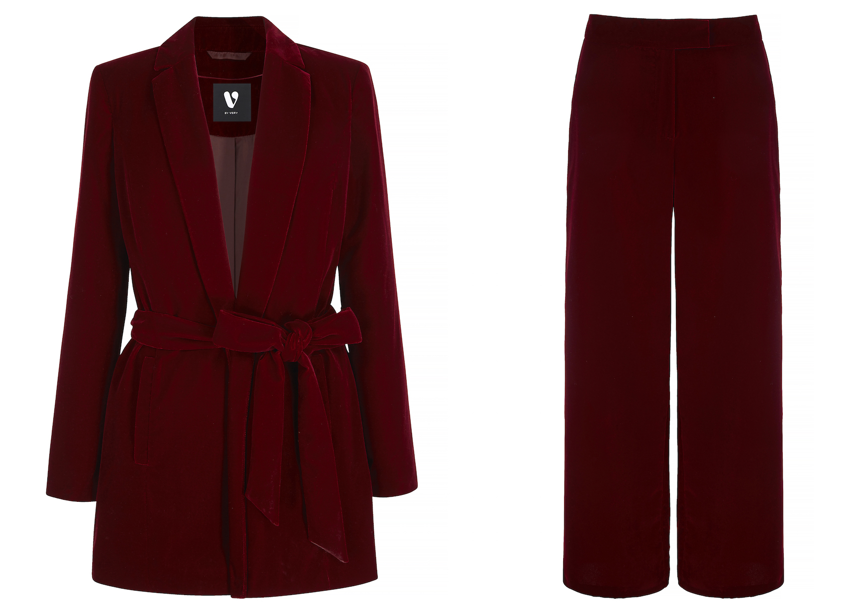 Burgundy Belted Velvet Suit Jacket