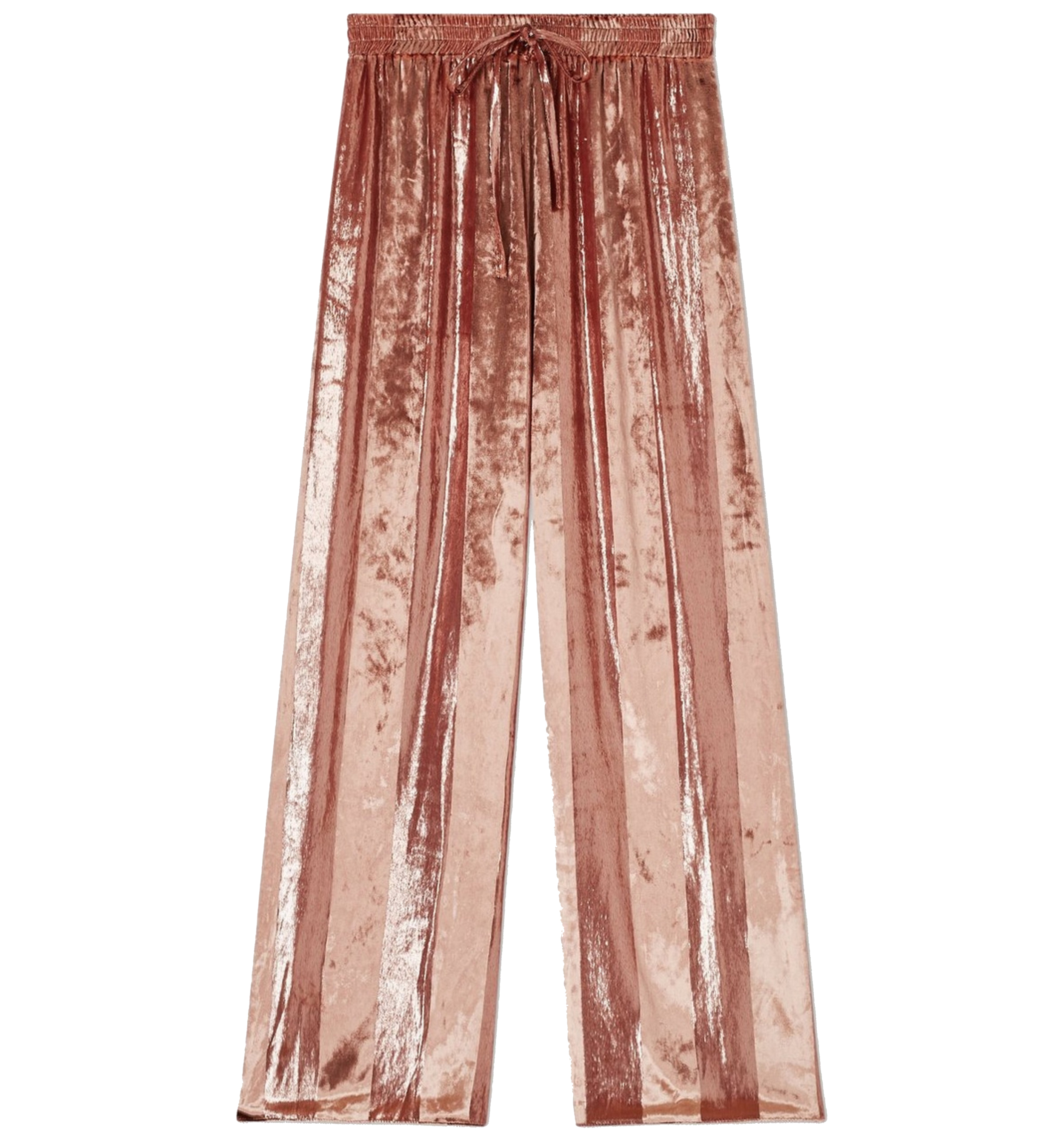 Pink Velvet Stripe Wide Leg Trousers
