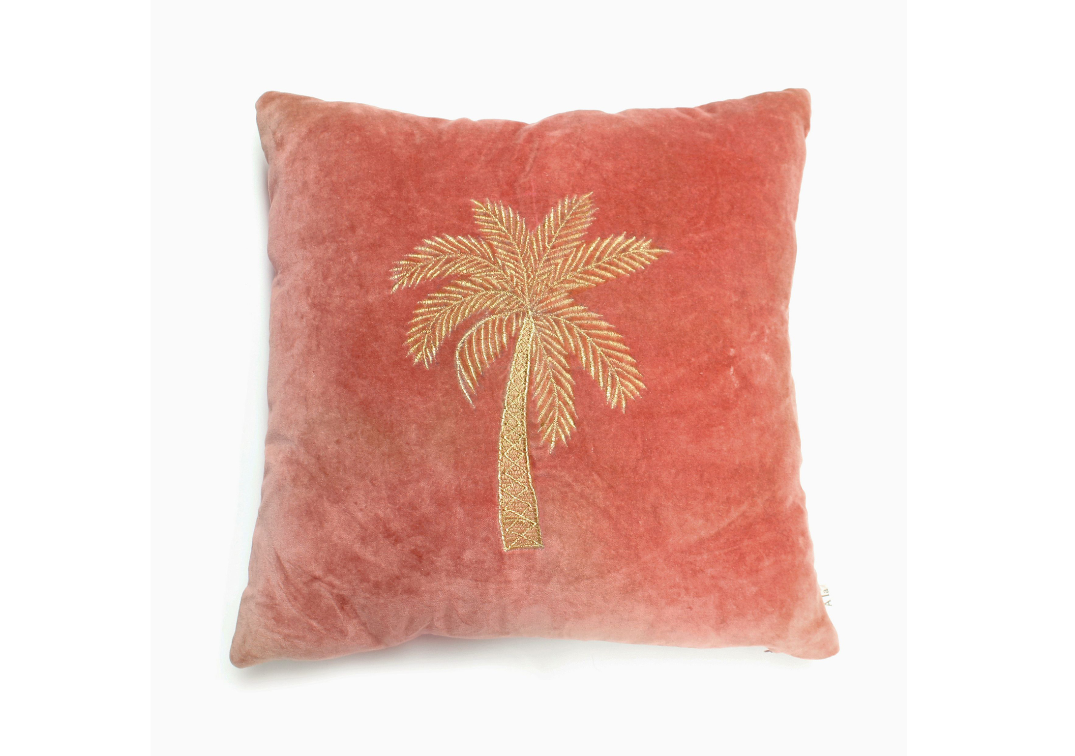 Embroidered Velvet Palm Tree Cushion
