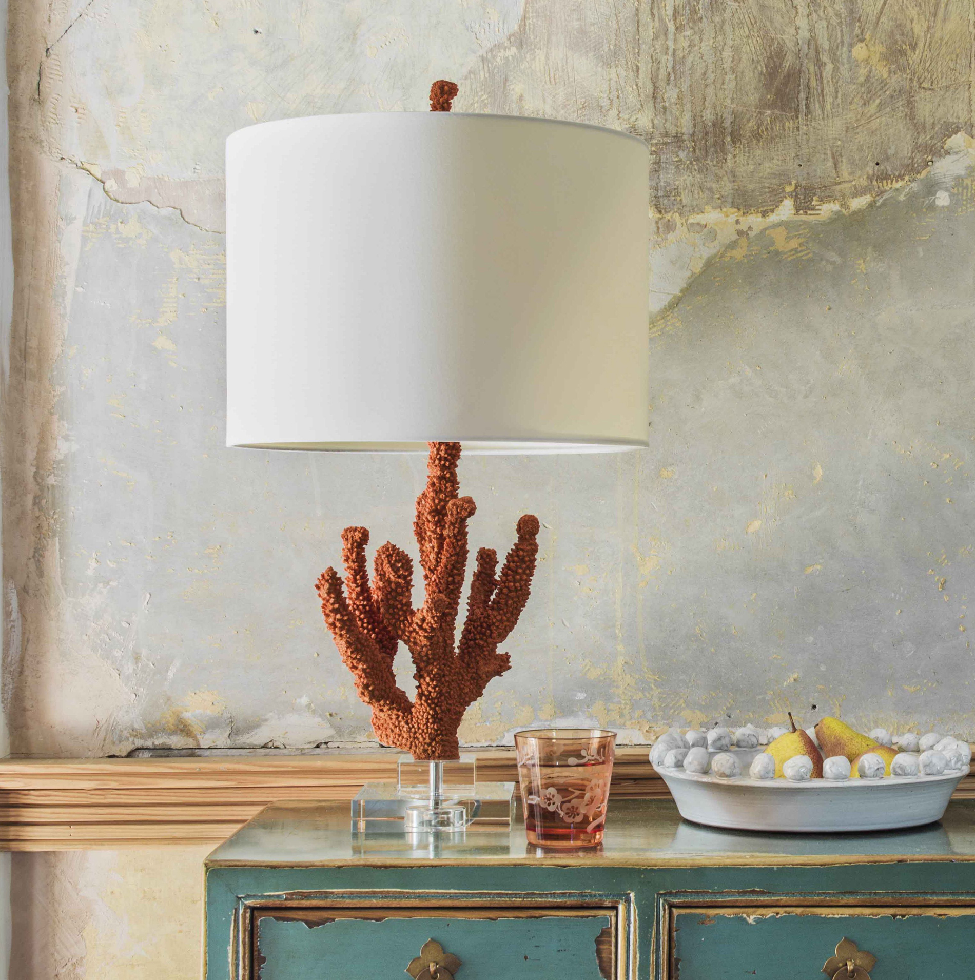 Orange Coral Table Lamp