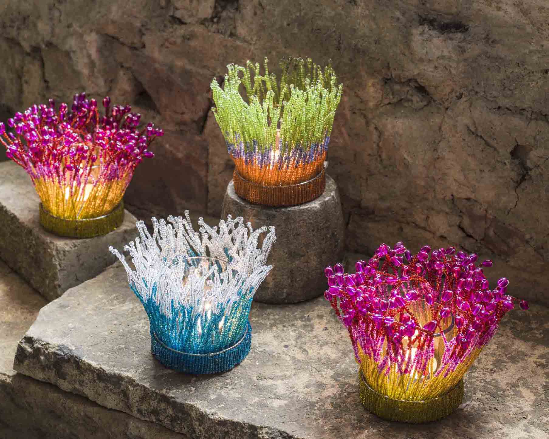 Coral Beaded Tealight Holders