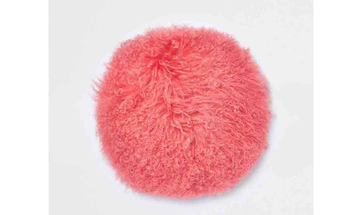 Coral Mongolian Round Cushion