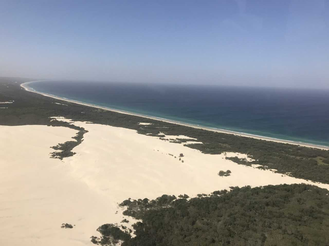 The white sands of Moreton Island as seen from a helicopter