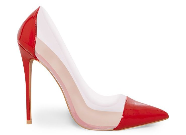 PrettyLittleThing Red Patent Clear Court Shoes