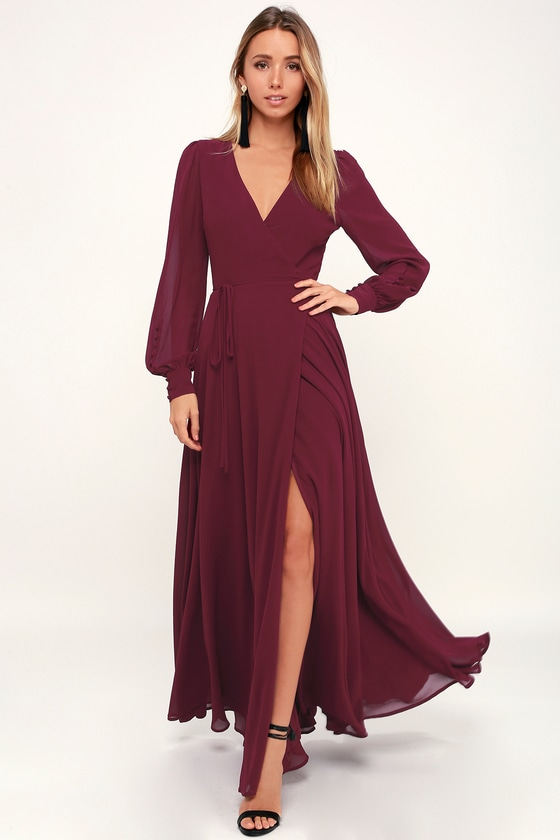 Lulus My Whole Heart Burgundy Long Sleeve Wrap Dress