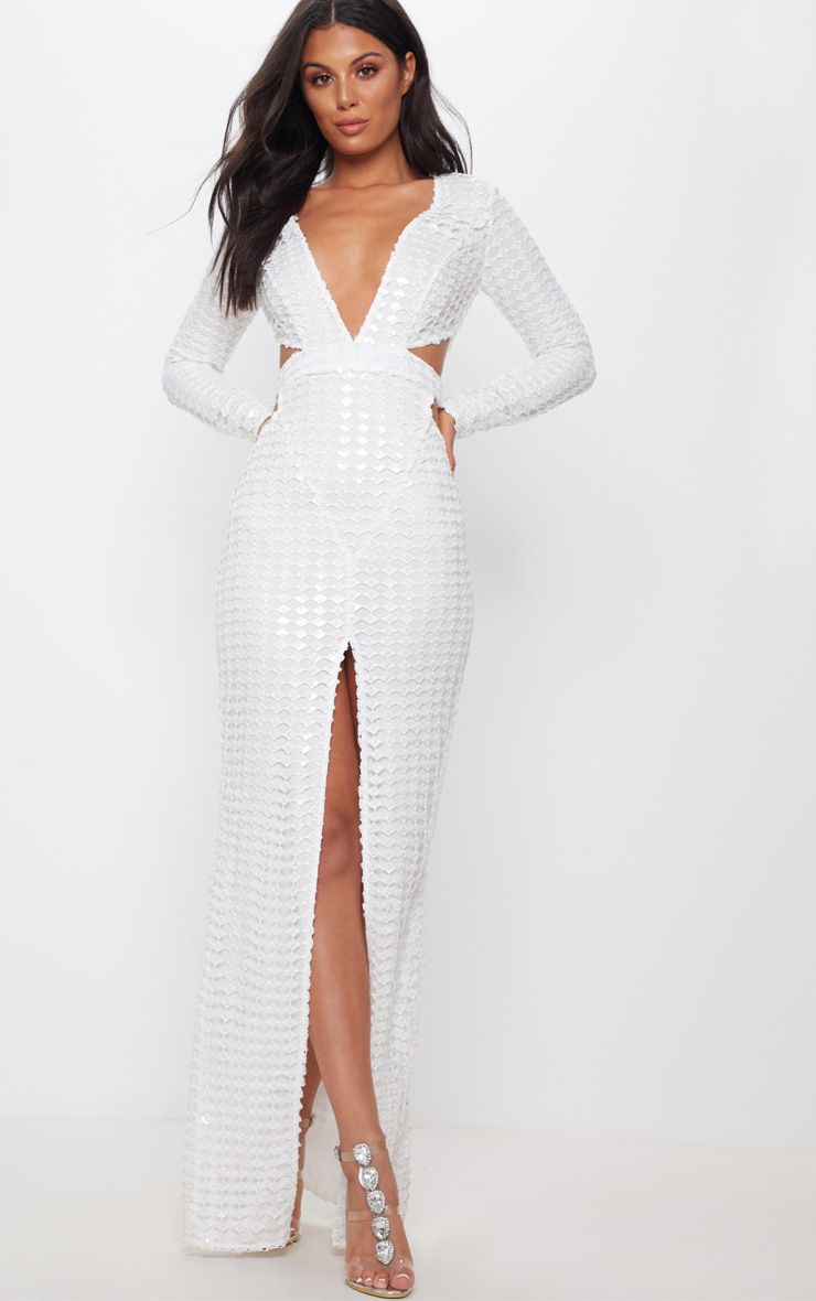 PrettyLittleThing White Metallic Detailed Cut Out Plunge Maxi Dres