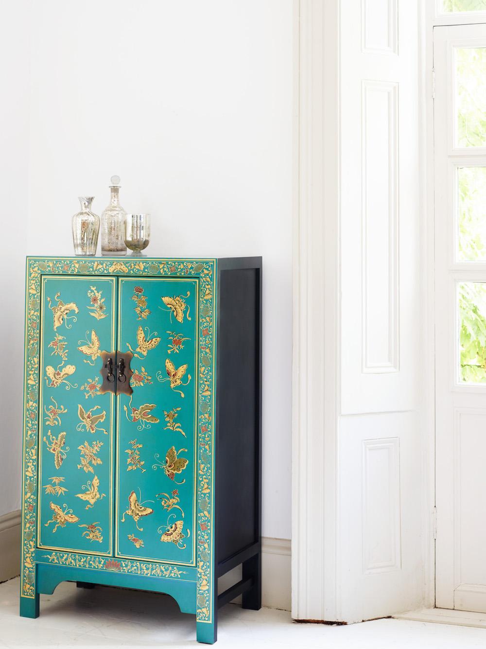Oriental Decorated Blue Medium cabinet