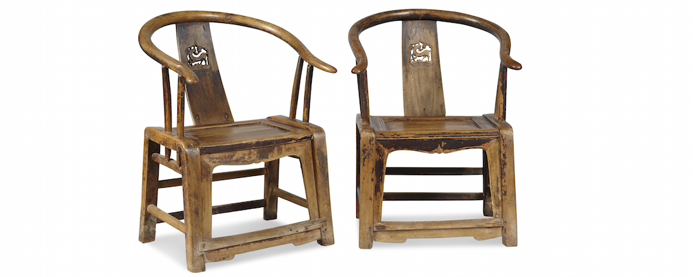 Pair of Poplar Horseshoe Armchairs